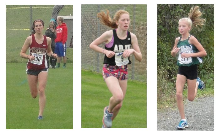 Maggie, Tanna and Mikayla win medals at the NSSAF XC championships in Antigonish.